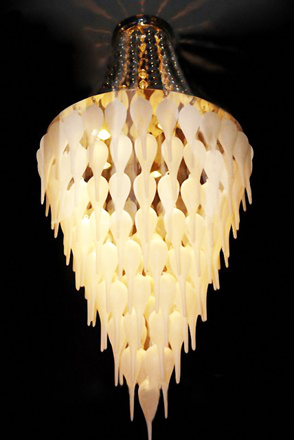 Modern Handmade Glass Shades Chandelier contemporary-chandeliers