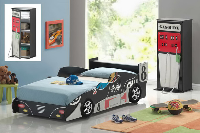 Race Car Twin Bed: Good Trading Black Wood Race Sports Car Boys Kids Twin