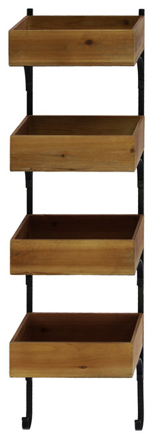 Wood Wall Shelf With Metal Braces and 4 Tiers Natural Wood ...