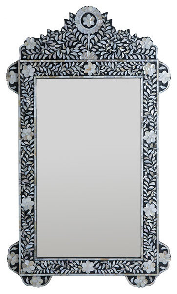 Inlaid Mother-of-Pearl Flower Mirror eclectic-wall-mirrors