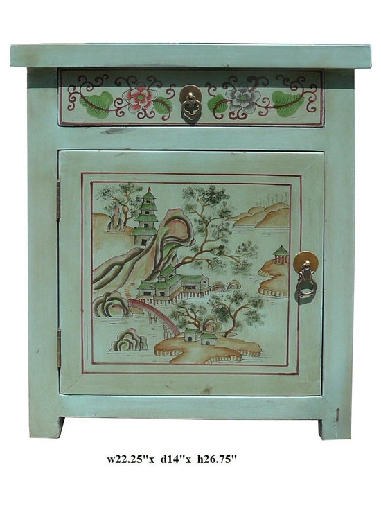 Oriental Pastel Blue Color Kid Scenery Side Table Nightstand - This is a side table / nightstand with rustic vintage pastel blue lacquer finish. A colorful scenery of kids and Asian scenery is drawn on the door, drawer and top. Matching piece vs631