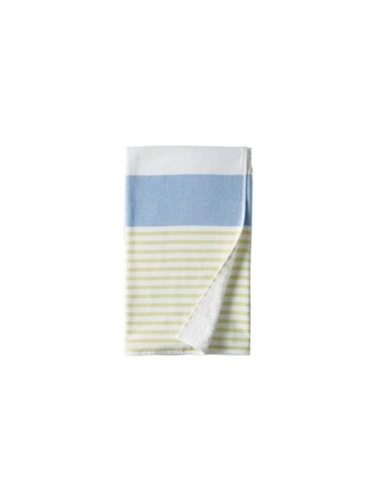 Serena & Lily - Fouta Bath Towel  Ultramarine - Just like the fine Turkish towels that inspired them, ours have smooth cotton on one side and looped cotton terry on the other for added wicking. Ultramarine and lime stripes add a kick of color against white.