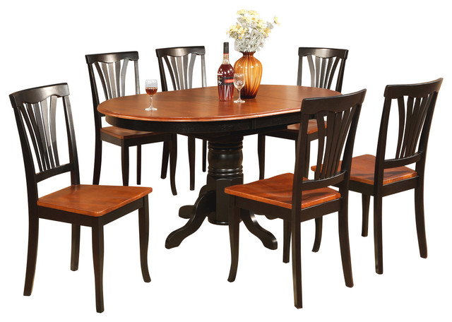 piece dining room set oval table with leaf and 6 dining chairs
