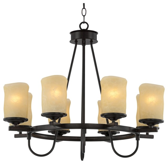 """Arts and Crafts - Mission Rustic Candle Dark Bronze 27 1/2"""" Wide Chandelier traditional-chandeliers"""