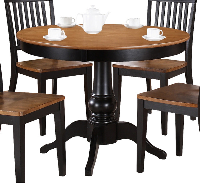 steve silver candice 42 inch round dining table in oak and black transitional dining tables. Black Bedroom Furniture Sets. Home Design Ideas
