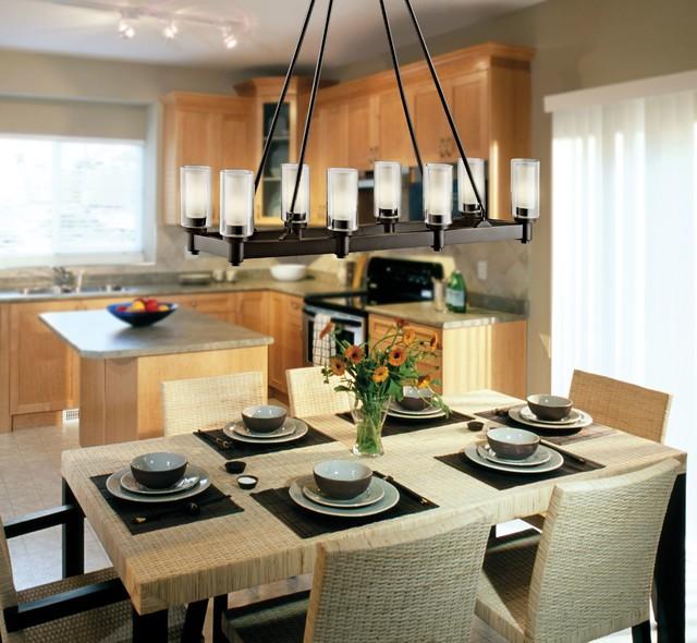 Circolo Olde Bronze Rectangular 8 Light Contemporary Dining Room Chandelier