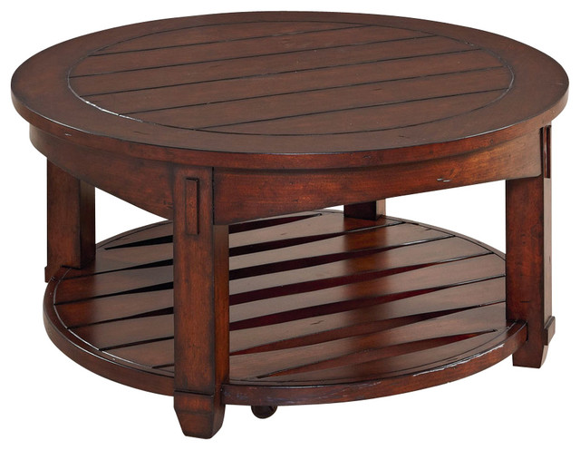 Hammary tacoma round cocktail table in rustic brown for Rustic dark brown coffee table