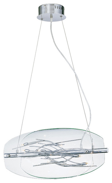 8-Lite Hanging Lamp - Chrome/Clear Glass Shade traditional-pendant-lighting