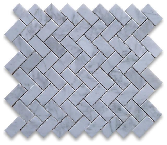 Carrara White 1 x 2 Herringbone Mosaic Tile Polished - Marble from Italy tile