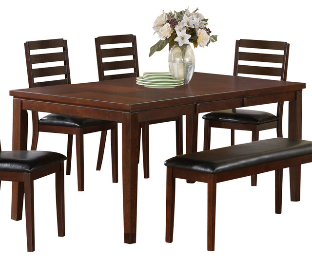 Monarch specialties i 1866 dark espresso birch veneer rectangular dining table transitional - Birch kitchen table ...