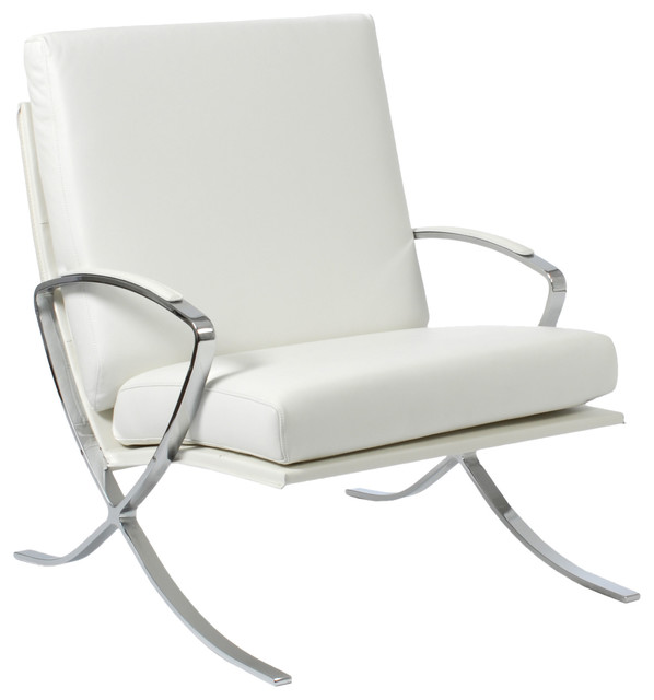 Pietro Lounge Chair White Leather Chrome Contemporary Outdoor Chaise Lo