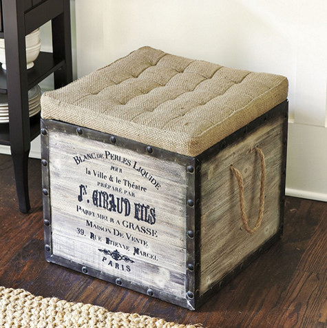 Burlap Seat Storage Ottoman Traditional Footstools And