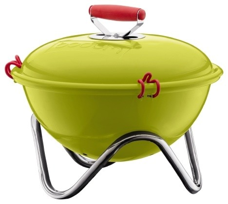 Fyrkat Picnic Charcoal Grill, Lime Green contemporary-outdoor-grills