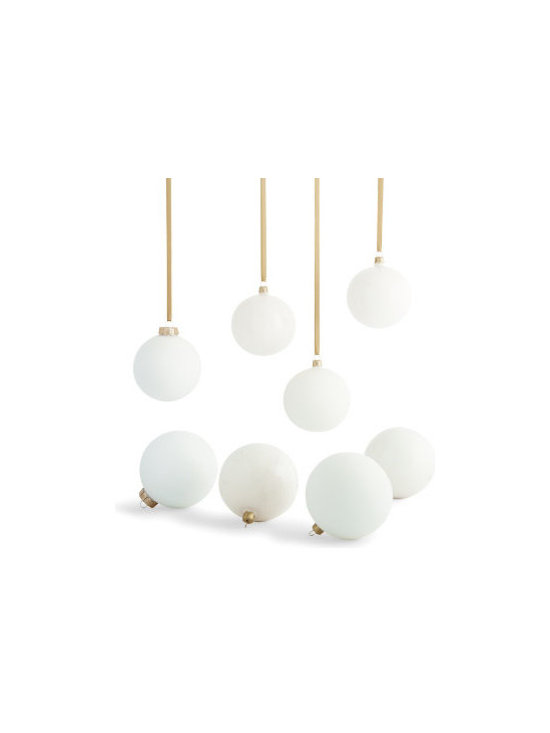 """Grandin Road - Set of 8 Wool White Glass Ornaments - Wool white 4"""" round glass ornaments. Set includes four each of shiny and matte round globes. Each ornament is detailed with a golden cap. Hanging hooks and ribbon not included. Celebrate the season the warm, layered look of our Wool White Glass Ornaments in your Christmas tree. With the elegance and versatility of perfectly roundpearls, these round globes will blend beautifully with a number of holiday styles. Make your own wintry mix - combine this set with the 3-1/4"""" Wool White Glass Ornaments, for a variety of sizes in the same wintry mix.  .  .  .  ."""