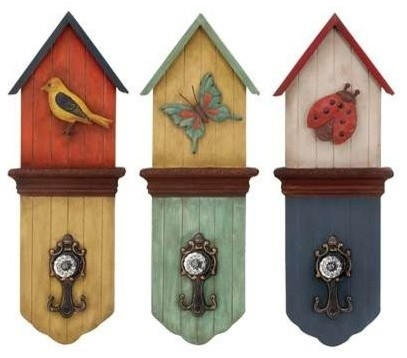 Metal Wall Hook with Three Colors 3 Assorted transitional-wall-hooks