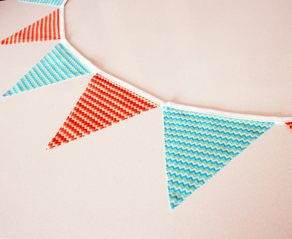 Fabric Bunting Banner Double Sided Chevron Zig Zag by Funky Bunts modern nursery decor