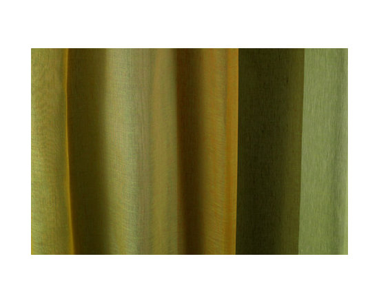 Linen Sheer Vertical Stripe Drapery in Spring - Linen Sheer Vertical Stripe Drapery Fabric in Spring Green. Striped fabric ideal for drapes, curtains, and other window treatments, or bed canopy.