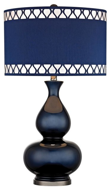 one light navy blue with black nickle blue faux silk shade table lamp. Black Bedroom Furniture Sets. Home Design Ideas