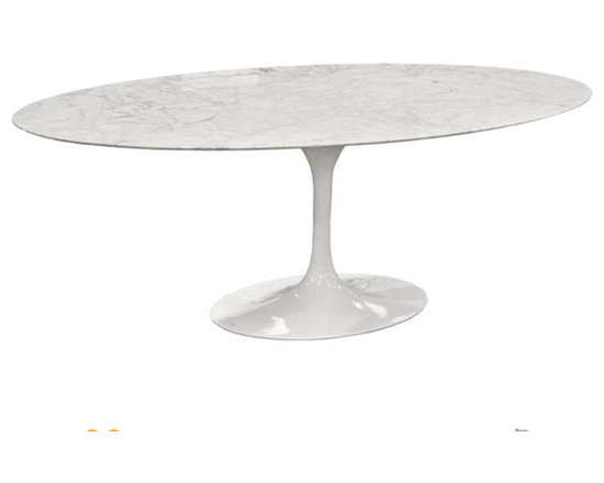 "Rove Concepts - Eero Saarinen Oval Tulip Table White Cararra Marble, 79"" - Beautiful Eero Saarinen Marble Tulip Oval Table, Solid marble top in white, manufactured with Carrara Marble polished with a smooth edge. White marble top has natural grey veins. Glossy Aluminum Cast base bottom available in white - Available in 2 sizes 68""L x 43""W and 79""L x48""W"