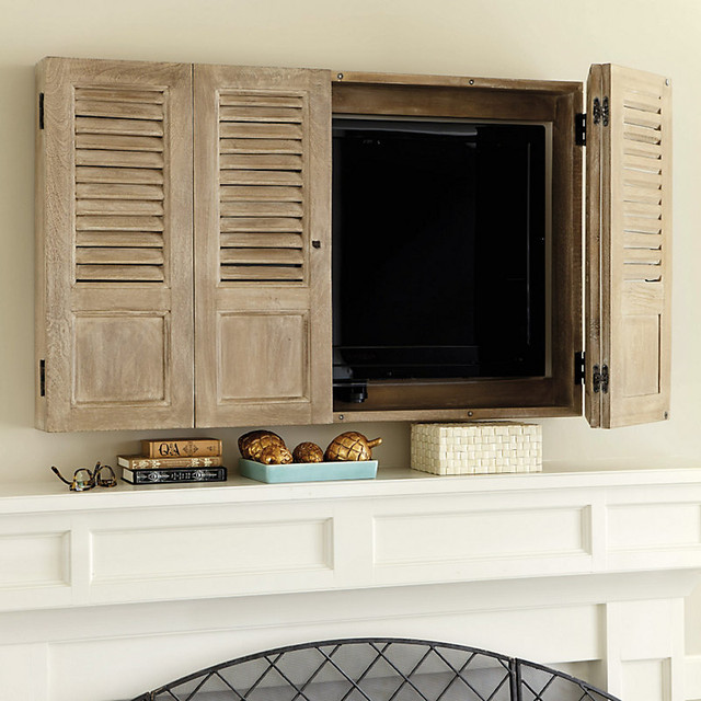 Shutter tv wall cabinet traditional entertainment for Wall mounted tv cabinet design ideas