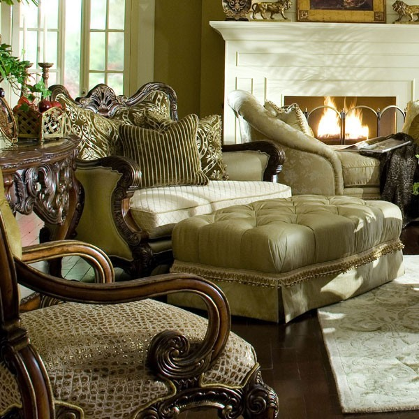 Aico Furniture Chateau Beauvais Chair And A Half And Ottoman Set 75838 Angld Traditional