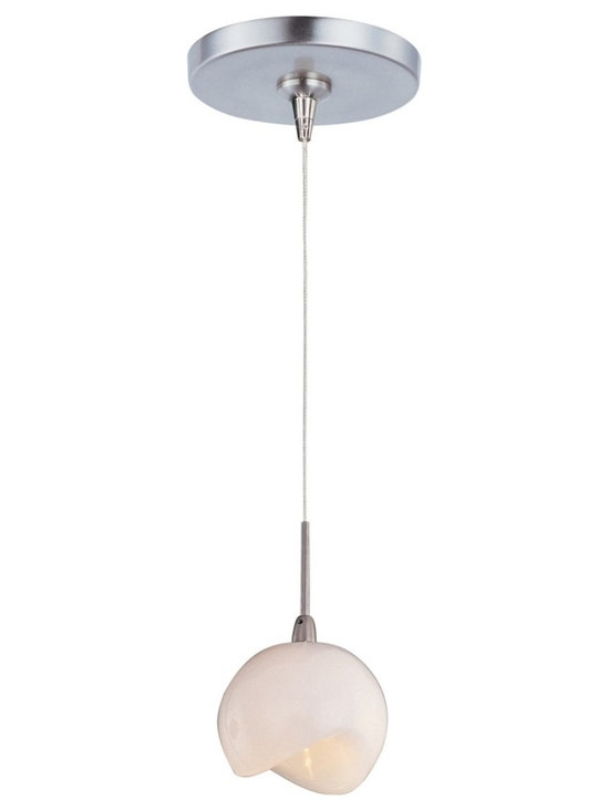 """ET2 - ET2 Minx Opal White RapidJack Glass Mini Pendant - Sculptural modern mini pendant light. Opal white glass shade. Satin nickel finish metal linear canopy and details. Includes one 20 watt 12 volt G4 Xenon bulb. Light output is 320 lumens. 2900K color temperature warm light. 2000 hour rated average bulb life. Low-voltage design; transformer included. Includes 72"""" wire. Shade is 3 3/4"""" wide and 2 3/4"""" high. Canopy is 4 1/2"""" wide and 1"""" high. Maximum overall hang height is 76"""".   Sculptural modern mini pendant light.  Opal white glass shade.  Satin nickel finish metal linear canopy and details.  Includes one 20 watt 12 volt G4 Xenon bulb.  Light output is 320 lumens.  2900K color temperature warm light.  2000 hour rated average bulb life.  Low-voltage design; transformer included.  Includes 72"""" wire.  Shade is 3 3/4"""" wide and 2 3/4"""" high.  Canopy is 4 1/2"""" wide and 1"""" high.  Maximum overall hang height is 76""""."""