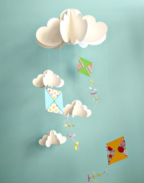 Kites and Clouds Hanging Paper 3D Mobile by Gosh & Golly contemporary-mobiles