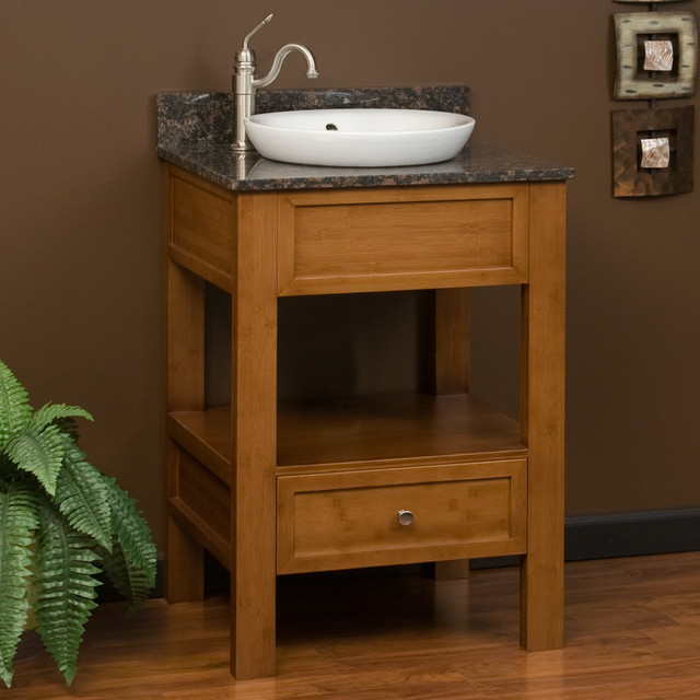 24 milforde bamboo console vanity for semi recessed sink for Modern bamboo bathroom vanity