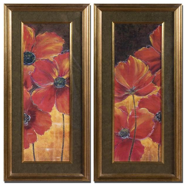 Red Gold Poppy Print Wall Art Set Of 2
