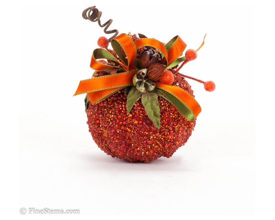 Red Pumpkin - Add fresh fall colors to warm up your home this season with these one-of-a-kind pumpkins! Handcrafted, red encrusted pumpkin.