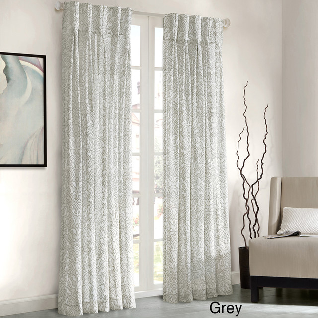 Madison Park Amari Damask Pattern Window Panel Curtain Contemporary Curtains By