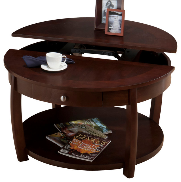 Jofran 436 2 Riverside Round Lift Top Cocktail Table With Drawer And Casters Traditional