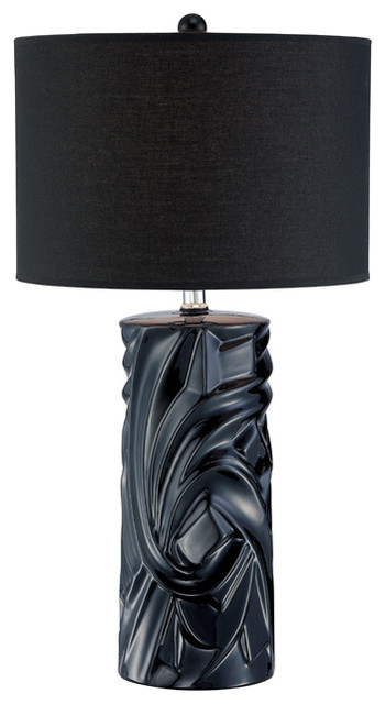Table Lamp - Black Ceramic Body/Black Fabric Shade traditional-table-lamps