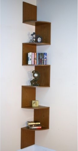 Premier 6 shelf corner bookcase oak contemporary for Modern corner bookshelf