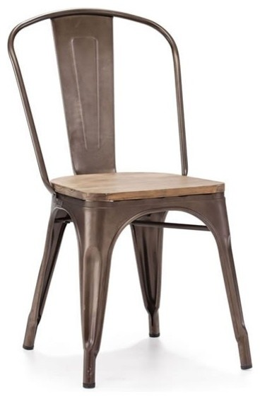 Elio Chair- Steel & Wood industrial-living-room-chairs