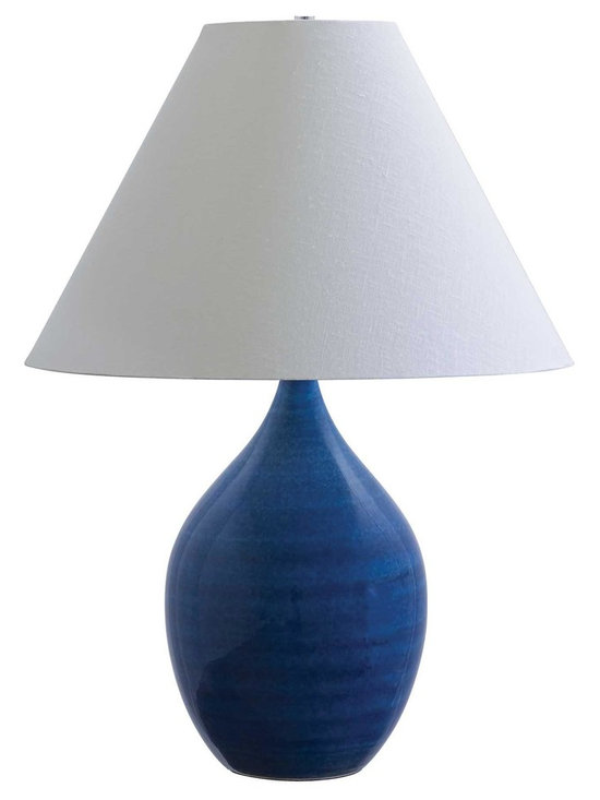 """House of Troy Scatchard 28"""" Stoneware Table Lamp in Blue Gloss - House of Troy (Made in the USA) Scatchard 28"""" Stoneware Table Lamp. Features: On socket On / Off Switch. For more than 40 years, House of Troy has handcrafted Desk Lamps, Piano Lamps and Picture Lights in the great state of Vermont. House of Troy's reputation for craftsmanship, quality materials, and customer service make these items a value unsurpassed in the lighting industry."""