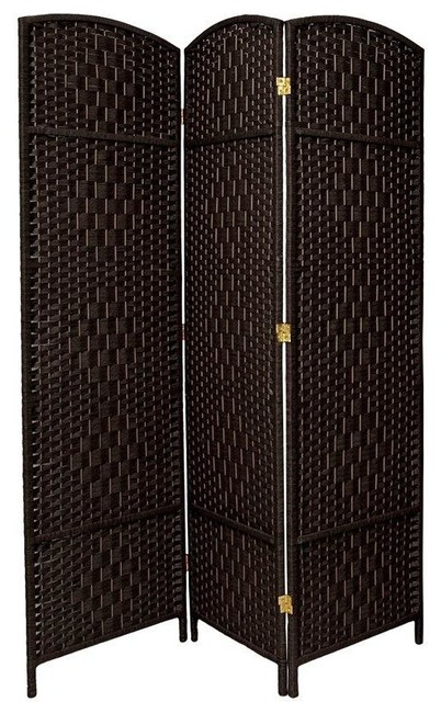 6 ft. Tall Diamond Weave Fiber Room Divider - Black - 3 Panel tropical-screens-and-room-dividers