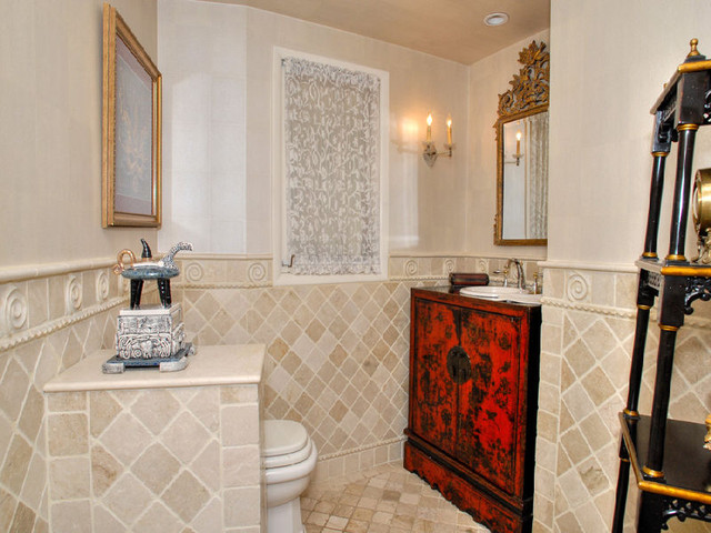 Calming Powder room traditional