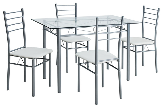 Glass Table And Four Chair Dining Set Modern Dining Table Sets