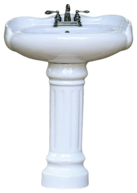 Porcelain Georgian Style Rounded Pedestal Bath Sink