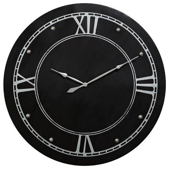 Large Round Steel Clock traditional-clocks