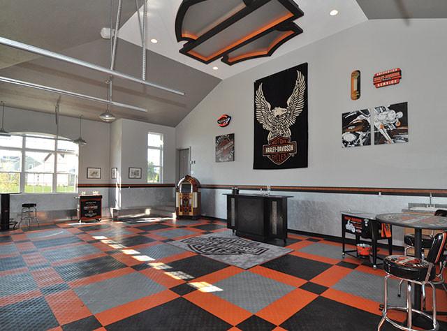 RaceDeck Garage Flooring Harley Davison Theme
