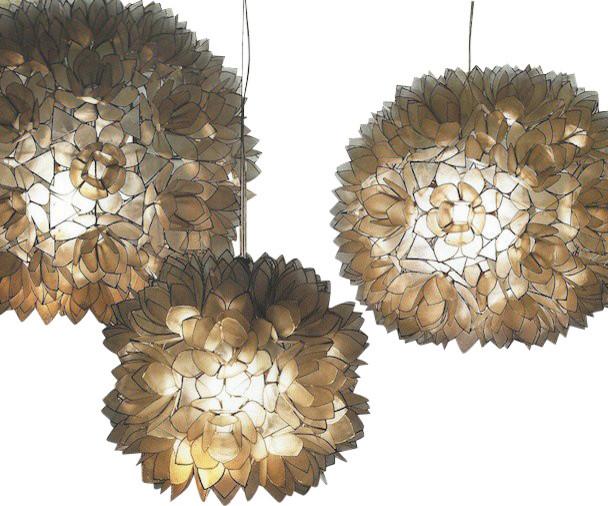 Lotus Flower White Modern / Contemporary Chandelier - Medium contemporary-chandeliers
