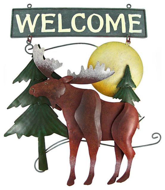 Beautiful Hand Painted Moose Metal Welcome Sign tropical-garden-sculptures