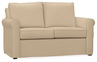 Cameron Roll Arm Love Seat Slipcover, Washed Linen/Cotton Camel traditional-chairs