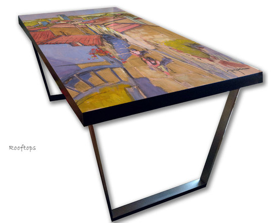Hand Painted Dining Table, French Architecture Design -