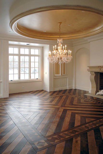 Antiqued walnut parquet flooring