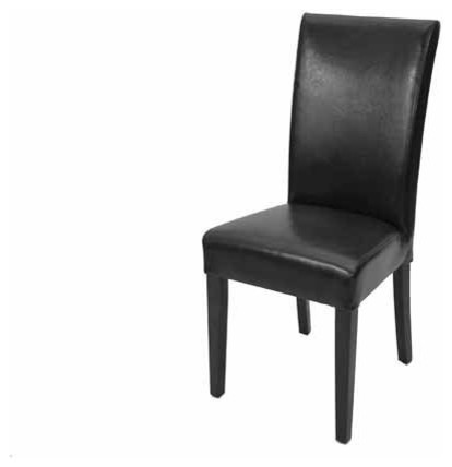 Fan back n high back comfortable parsons leather dining for Black leather dining chairs