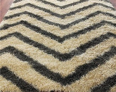 Chevron Stripe Shag Rug, Gray and Cream eclectic-rugs