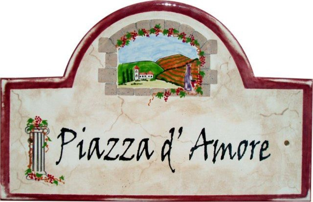 Tuscan style address and house numbers plaques for Mediterranean house numbers